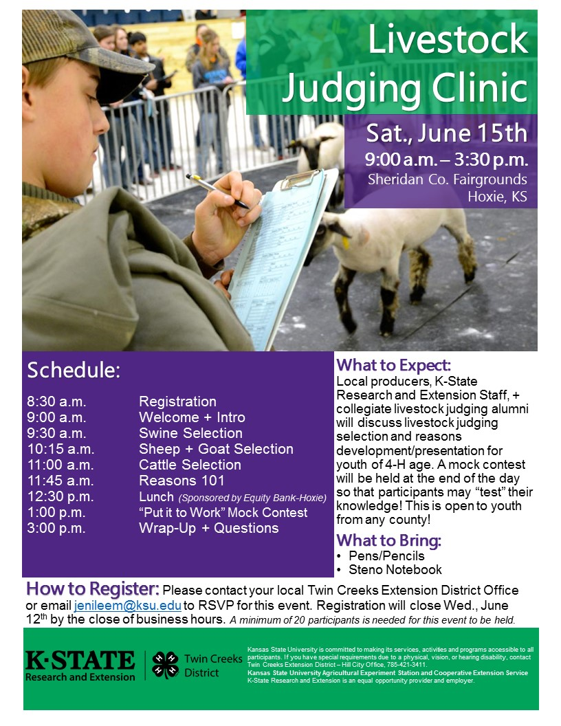 Livestock Judging Clinic Flyer
